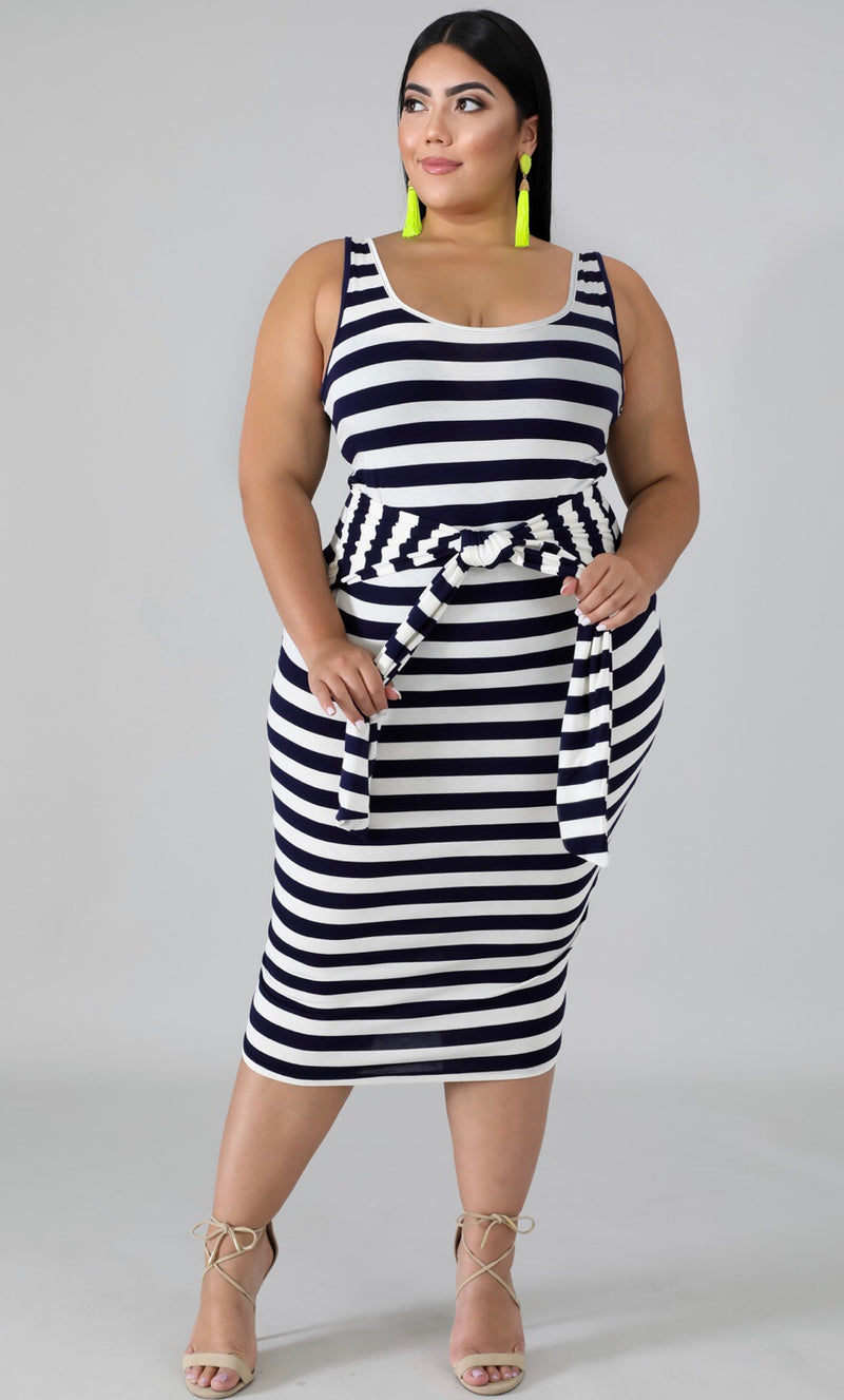 The Art of Stripes Front Tie Midi Dress - Forbidden Fruits Boutique