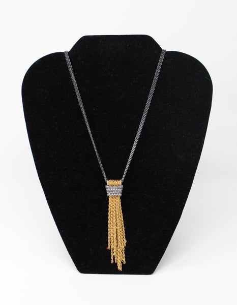Double Chain with Gold Chains Hanging Necklace