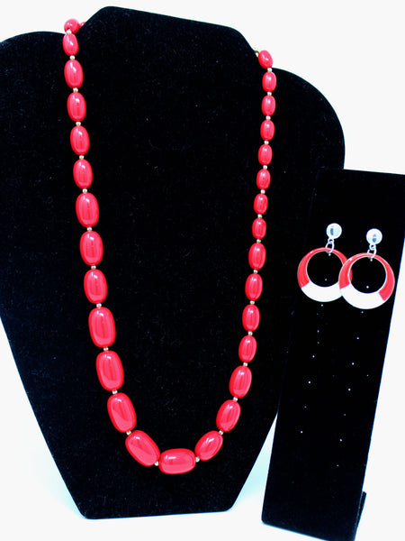 Red and White Necklace and Earrings Set