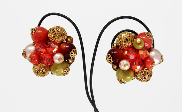 Clip On Red and Gold Earrings