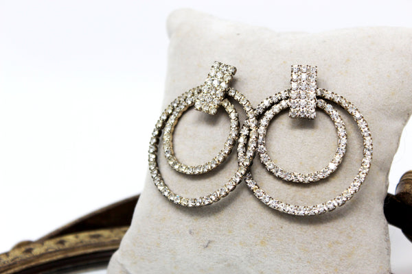 Rhinestone Circles Earrings