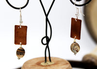 Copper Rectangles with Rock Stone Earrings
