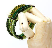 Shades of Green Beaded Cuff Clasp Bracelet