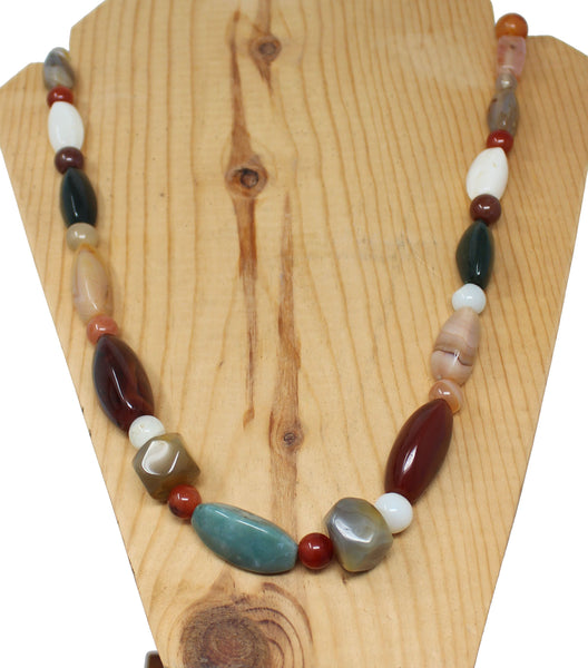 Green, Red, Brown, and White Stones Necklace