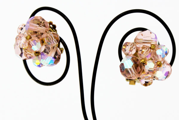 Clip On Fait Pink Shiny Diamond Bunch Earrings