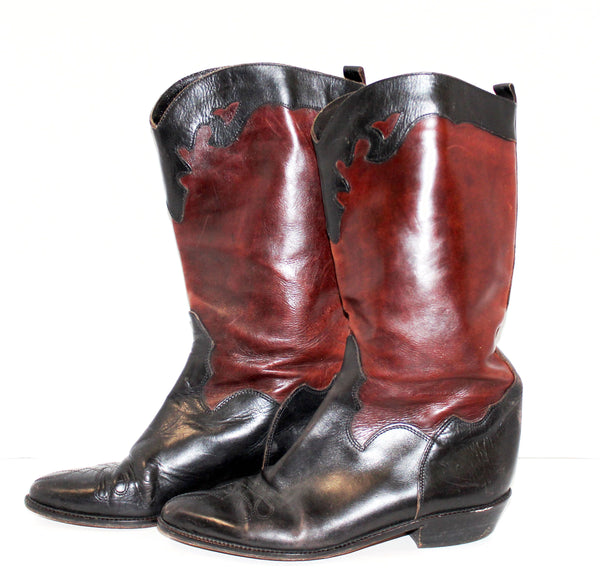 Joant Davis Brown and Black Leather Cowgirl Boots