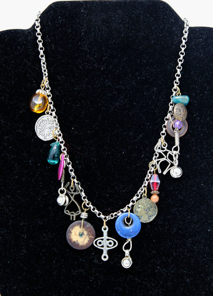 Silver Chain with Colorful Ancient Pendants Necklace