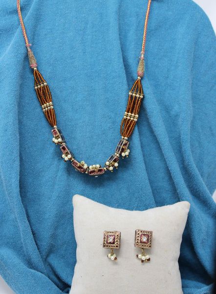 Boho Gold and Amber with Diamonds Necklace and Earrings Set