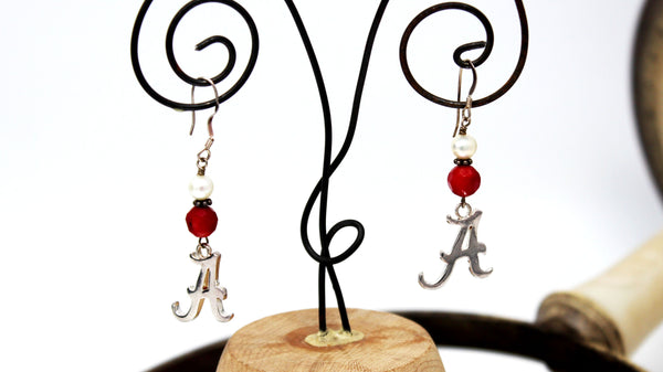 "Alabama ""A"" Earrings with Red and White Beads"