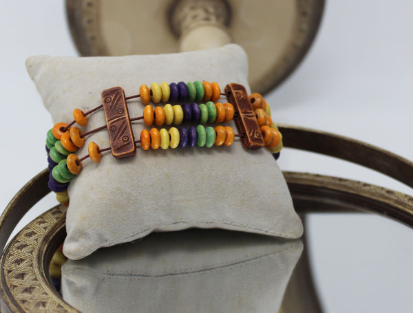 Stretchy Multi Color Wooden Beads Bracelet