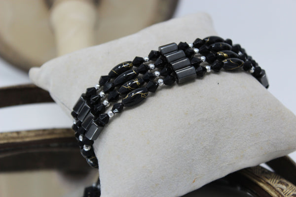 Black and Silver Magnetic Beaded Bracelet/Necklace