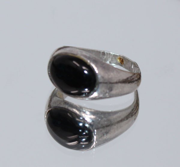 Silver with Black Oval Shape Ring