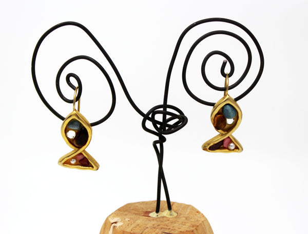 Gold with Assorted Stones Fish Earrings
