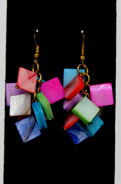 Multi Color Squares Earrings