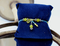 Lime Green and Blue Beaded Bracelet