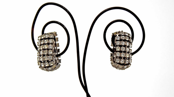 Clip On Silver Rhinestone Earrings