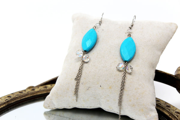 Oval Turquoise Stones with Dangling Clear Beads and Chains Earrings