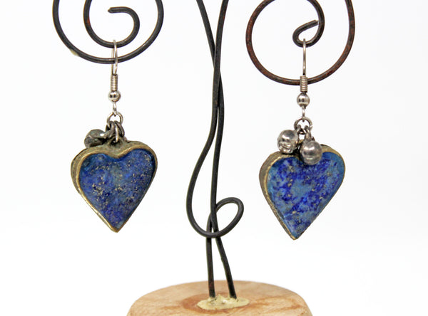 Silver with Blue Lapis Heart Dangle Earrings