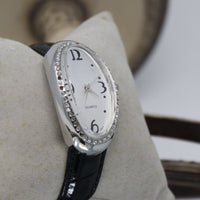 Watch with Black Leather Strap and Oval Face