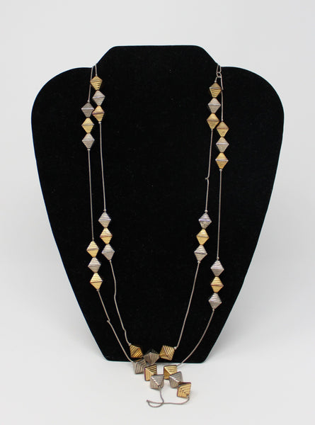 Long Necklace with Silver and Gold Diamond Shaped Beads
