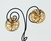 Clip On Gold Intricate Design Earrings