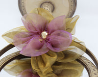 Pink and Gold Tool Flower Pin