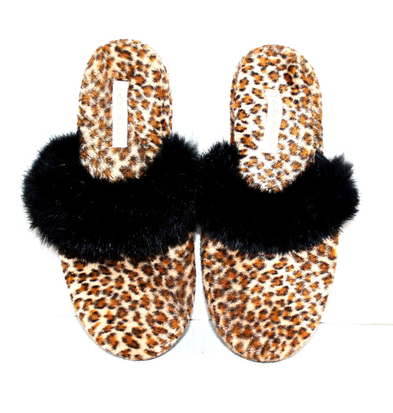 Cheetah Print with Black Fur Slippers