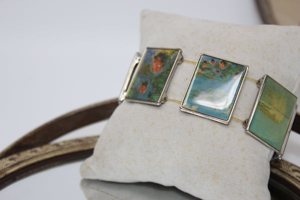 Silver Stretch Bracelet with Paintings