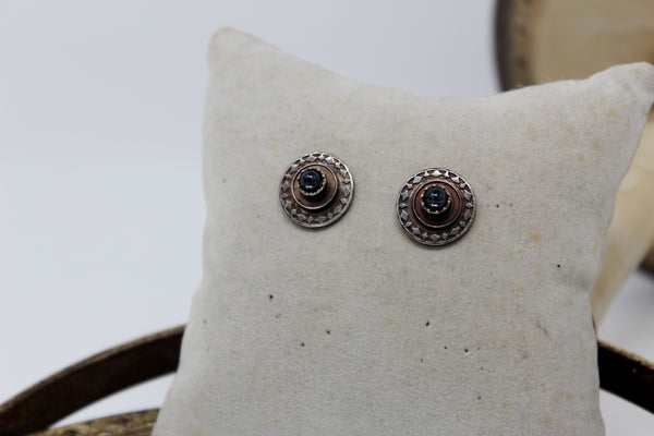 Silver Circle with Black Bead in Center Stud Earrings