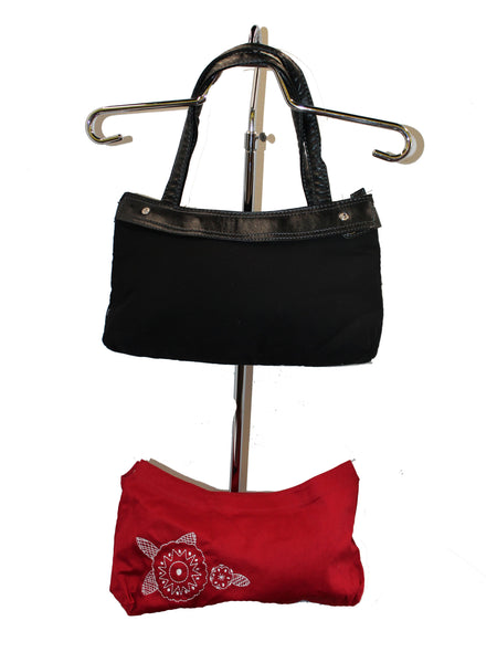 Black Handbag with Interchangeable Red Cover