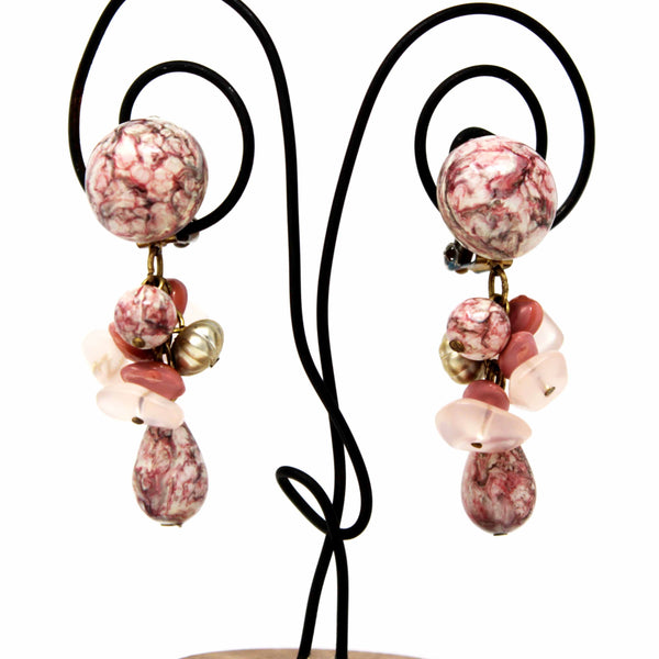 Clip On Pink/White Stone Dangle Earrings