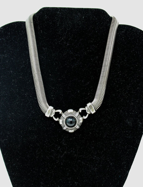 Silver Snake Chain with Circle Black Stone Pendant Necklace