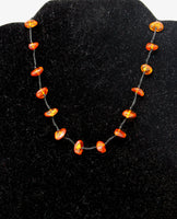 Black Rope with Amber Beads Necklace