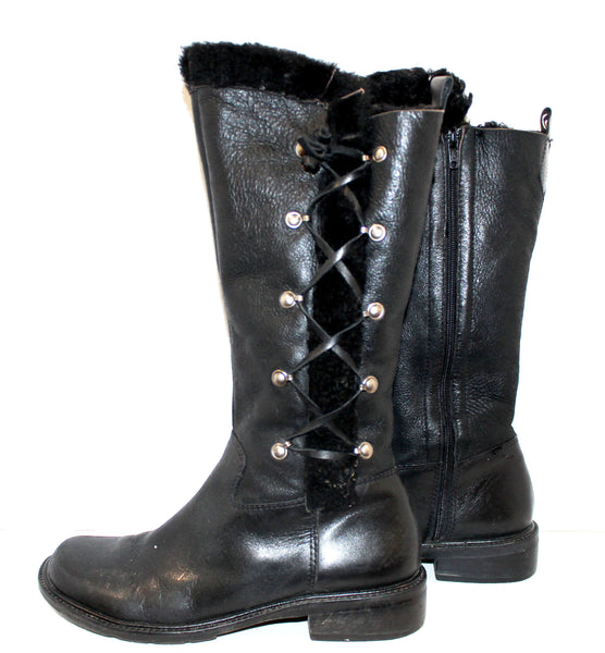 Tall Black Leather Lace Up Boots