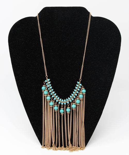 Gold Chains with Turquoise Beads Statement Necklace