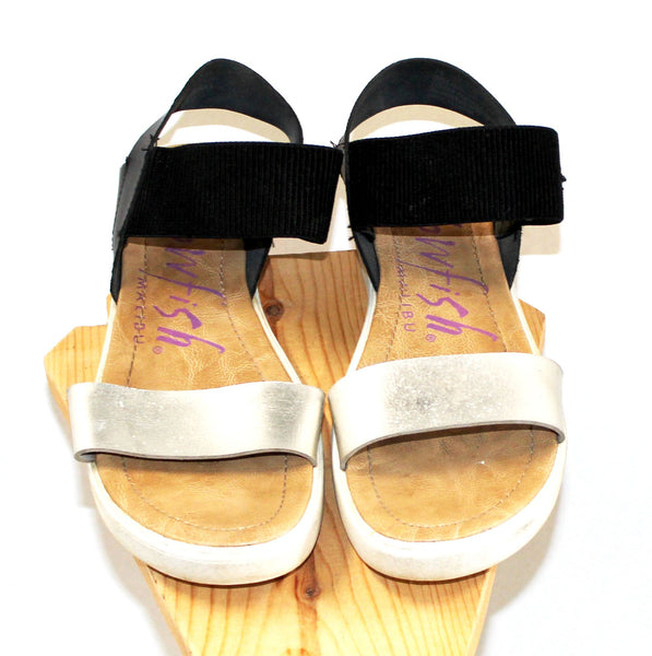 Blowfish Black and Silver Strap Sandals