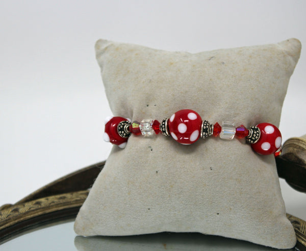 Clear, Red, and White Beaded Alabama Bracelet