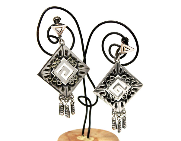 Aztec Silver Dangle Earrings