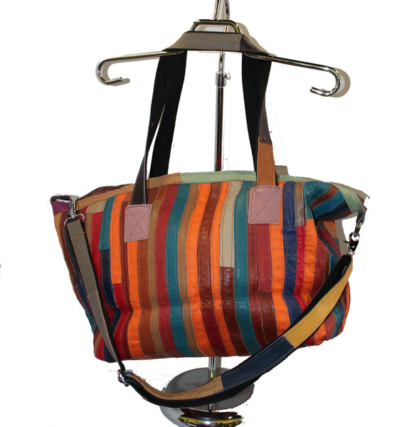 Multi Color Duffle Purse with Shoulder and Handle Strap