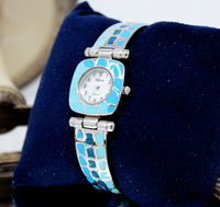 Blue and Silver Cuff Watch