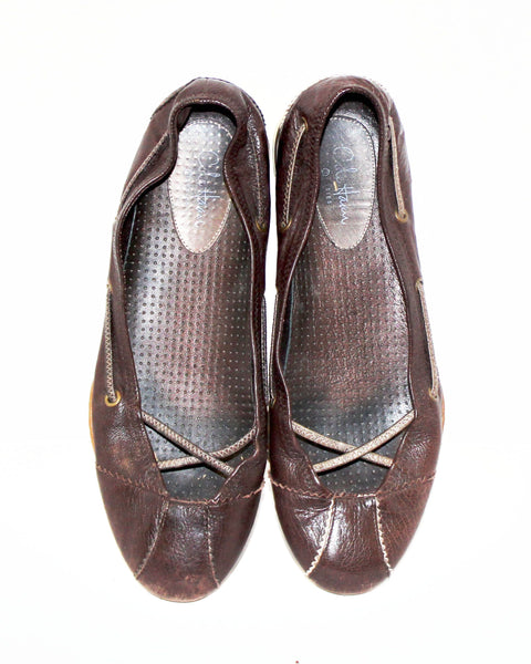 Dark Brown Leather Cole Haan Flats