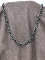 Dark Silver Textured Chain Necklace