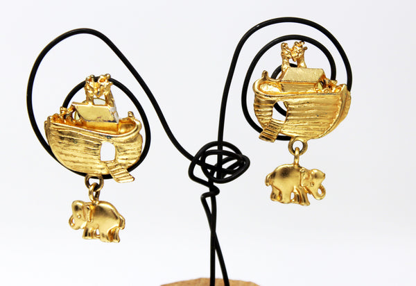 Gold Noah's Ark and Elephant Earrings