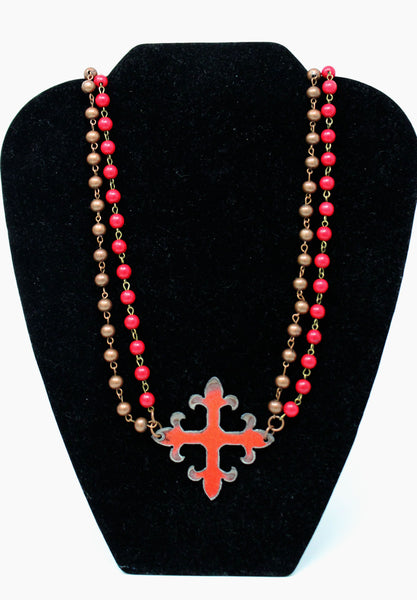 Long Red and Brown Beaded Necklace with Cross