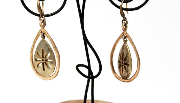 Gold Dangle Teardrop Shape Earrings