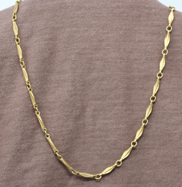 Gold Chain Necklace with Leaf Clasp