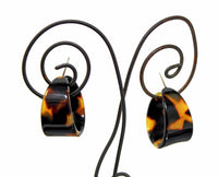 Brown Tortoise Shell Hoop Earrings