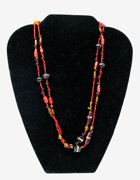 Red, Black, and Gold Beaded Necklace