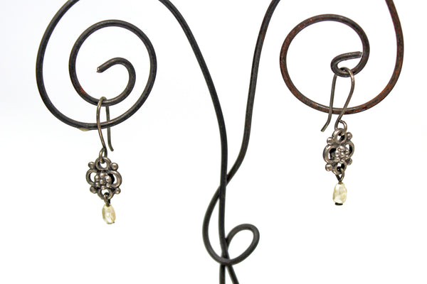 Silver Floral Shape Earrings with Dangled Pearl