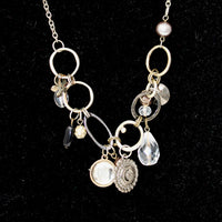 Silver Chain with Silver Circles and Pendants Necklace